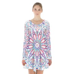 Frame Star Rainbow Love Heart Gold Purple Blue Long Sleeve Velvet V-neck Dress by Alisyart