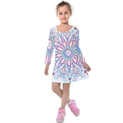 Frame Star Rainbow Love Heart Gold Purple Blue Kids  Long Sleeve Velvet Dress by Alisyart