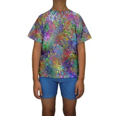 Glass Rainbow Color Kids  Short Sleeve Swimwear by Alisyart