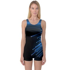 Abstract Light Rays Stripes Lines Black Blue One Piece Boyleg Swimsuit
