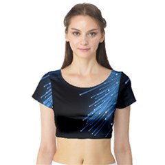Abstract Light Rays Stripes Lines Black Blue Short Sleeve Crop Top (tight Fit) by Alisyart