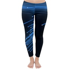 Abstract Light Rays Stripes Lines Black Blue Classic Winter Leggings