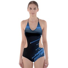 Abstract Light Rays Stripes Lines Black Blue Cut Out One Piece Swimsuit