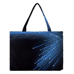 Abstract Light Rays Stripes Lines Black Blue Medium Tote Bag by Alisyart
