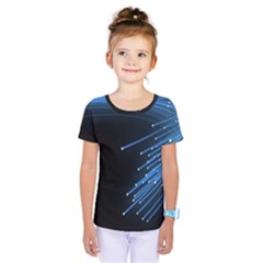 Abstract Light Rays Stripes Lines Black Blue Kids  One Piece Tee by Alisyart
