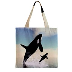 Whale Mum Baby Jump Zipper Grocery Tote Bag by Alisyart