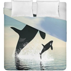 Whale Mum Baby Jump Duvet Cover Double Side (king Size) by Alisyart