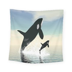 Whale Mum Baby Jump Square Tapestry (small) by Alisyart