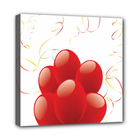 Balloon Partty Red Mini Canvas 8  X 8  by Alisyart