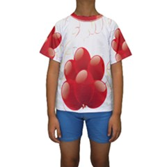 Balloon Partty Red Kids  Short Sleeve Swimwear by Alisyart