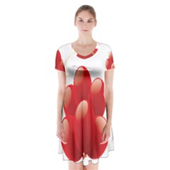 Balloon Partty Red Short Sleeve V Neck Flare Dress