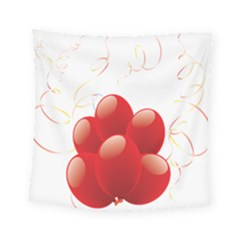 Balloon Partty Red Square Tapestry (small) by Alisyart