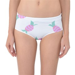 Candy Pink Blue Sweet Mid Waist Bikini Bottoms by Alisyart