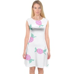 Candy Pink Blue Sweet Capsleeve Midi Dress