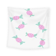 Candy Pink Blue Sweet Square Tapestry (small) by Alisyart