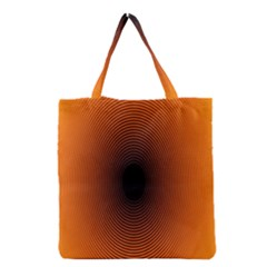 Abstract Circle Hole Black Orange Line Grocery Tote Bag by Alisyart