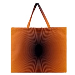 Abstract Circle Hole Black Orange Line Zipper Large Tote Bag by Alisyart