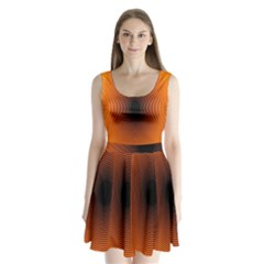 Abstract Circle Hole Black Orange Line Split Back Mini Dress