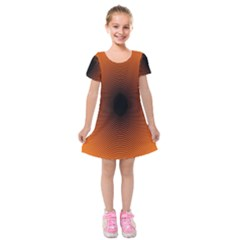 Abstract Circle Hole Black Orange Line Kids  Short Sleeve Velvet Dress by Alisyart