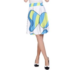 Candy Yellow Blue A-line Skirt by Alisyart