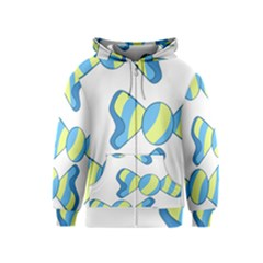 Candy Yellow Blue Kids  Zipper Hoodie