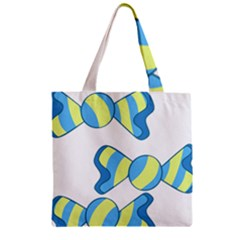 Candy Yellow Blue Zipper Grocery Tote Bag by Alisyart