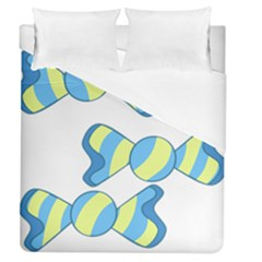 Candy Yellow Blue Duvet Cover (queen Size) by Alisyart