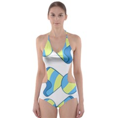Candy Yellow Blue Cut Out One Piece Swimsuit