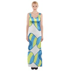 Candy Yellow Blue Maxi Thigh Split Dress by Alisyart