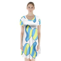 Candy Yellow Blue Short Sleeve V Neck Flare Dress