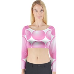 Circle Pink Long Sleeve Crop Top by Alisyart