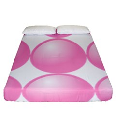 Circle Pink Fitted Sheet (queen Size) by Alisyart
