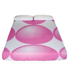 Circle Pink Fitted Sheet (king Size) by Alisyart