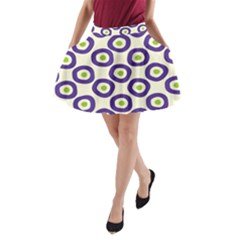 Circle Purple Green White A Line Pocket Skirt by Alisyart