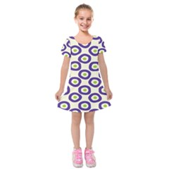 Circle Purple Green White Kids  Short Sleeve Velvet Dress by Alisyart