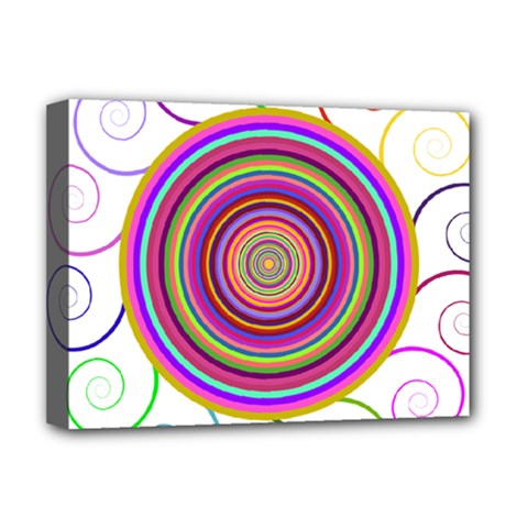Abstract Spiral Circle Rainbow Color Deluxe Canvas 16  X 12   by Alisyart