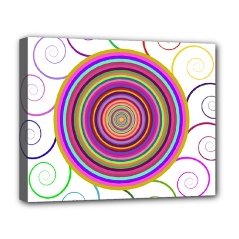 Abstract Spiral Circle Rainbow Color Deluxe Canvas 20  X 16   by Alisyart