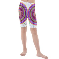 Abstract Spiral Circle Rainbow Color Kids  Mid Length Swim Shorts by Alisyart