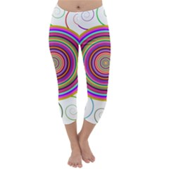 Abstract Spiral Circle Rainbow Color Capri Winter Leggings