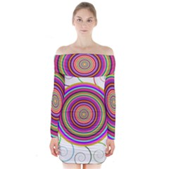 Abstract Spiral Circle Rainbow Color Long Sleeve Off Shoulder Dress