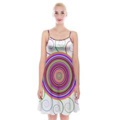 Abstract Spiral Circle Rainbow Color Spaghetti Strap Velvet Dress by Alisyart
