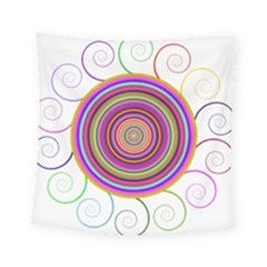 Abstract Spiral Circle Rainbow Color Square Tapestry (small)