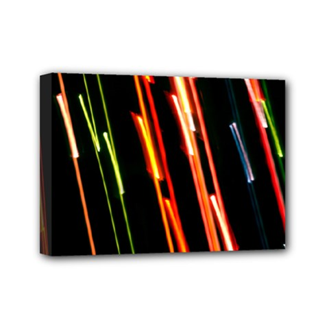 Colorful Diagonal Lights Lines Mini Canvas 7  X 5  by Alisyart