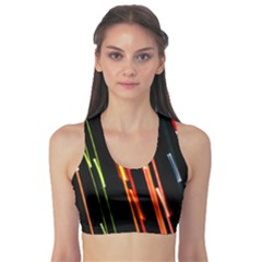Colorful Diagonal Lights Lines Sports Bra by Alisyart