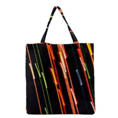Colorful Diagonal Lights Lines Grocery Tote Bag by Alisyart