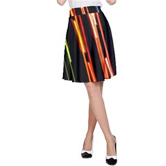 Colorful Diagonal Lights Lines A Line Skirt