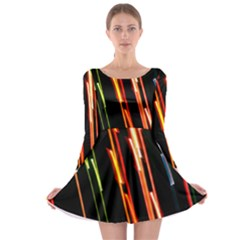 Colorful Diagonal Lights Lines Long Sleeve Skater Dress by Alisyart