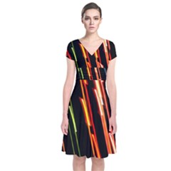 Colorful Diagonal Lights Lines Short Sleeve Front Wrap Dress