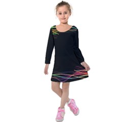 Colorful Light Frame Line Kids  Long Sleeve Velvet Dress by Alisyart