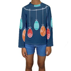 Easter Egg Balloon Pink Blue Red Orange Kids  Long Sleeve Swimwear by Alisyart